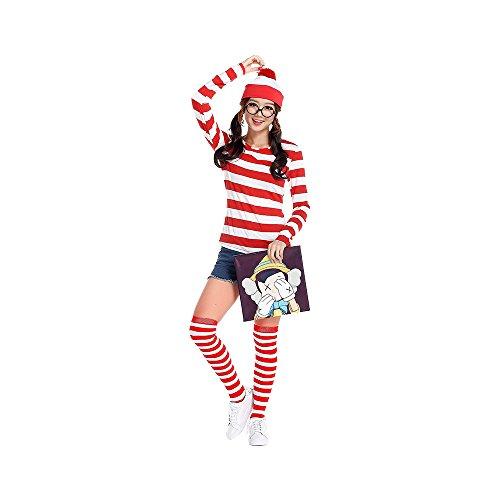 ノーブランド品 ウォーリーを探せ Where's Wally コスプレ ウォーリー ウェンダ コスチューム レディース 大人用 ハロウィン衣装 仮装 文化祭 4点セット 男女共用 帽子+Tシャツ+ソックス+レンズなしメガネ M レッド