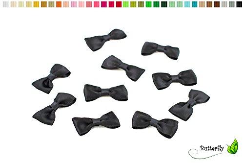 10 Stück Satinschleifen 4cm x 2cm (schwarz 030) // Fertigschleifen Deko Dekoschleifen Scrapbooking Minischleifen Schleifen Satin Band Applikationen Streudeko