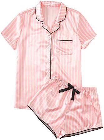 WDIRARA Women s Sleepwear Striped Satin Short Sleeve Shirt and Shorts Pajama Set Pink M product image