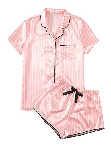 WDIRARA Women's Sleepwear Satin Short Sleeve Shirt and Shorts Pajama Set Striped Pink S