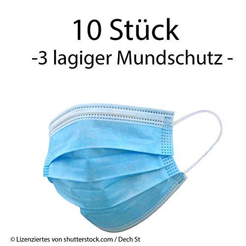 Einweg Mundschutz 3-Lagig Staubschutz mit Ohrschlaufen (10 x Pack 3-lagiger Mundschutz)