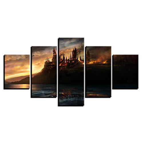 DADABOX Tipo Moderno De Cuadros Vintage 5 Panel Harry Potter Castle Decoración para El Hogar Pinturas sobre Lienzo Carteles E Impresiones En La Pared
