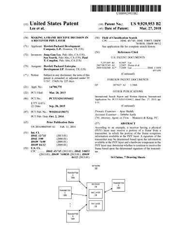 Making a frame receive decision in a receiver PHY layer: United States Patent 9929953 (English Edition)