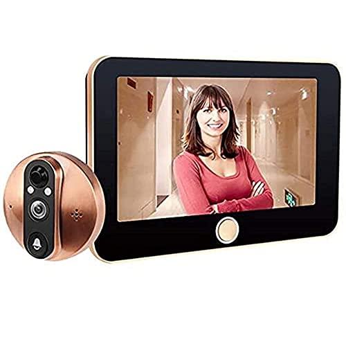 BJH Timbre inalámbrico, Timbre con Video, Mirilla de Puerta Inteligente, Mirilla de Puerta, 4.3 Pulgadas HD Visor de Mirilla de hogar Inteligente Digital Visual Doorbe