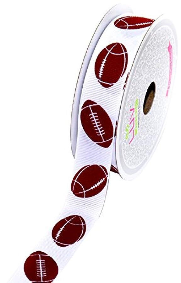 Creative Ideas GSO0708-FOT Grosgrain 7/8-Inch Sports Ribbon, 10-Yard, Football
