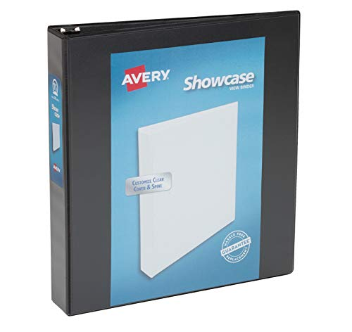 Avery Showcase Reference View Binder, 1.5 Inch, Black, 1 Binder (19650)