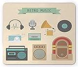 Alfombrilla de ratón para tocadiscos, letras de música retro, elemento de música de estilo antiguo, cinta, placa de grabación de radio, estampado Walkman, alfombrilla de goma rectangular antideslizant