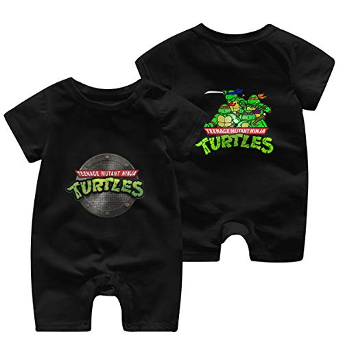 Mutant-Ninja Turtles Newborn Baby Shortsleeve Body Suits Cotton Jumpsuit Black 12 Months