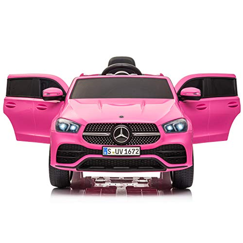 Aneken Kids Ride on Car with Remote Control, 12V Electric 4 Wheels Kids Toy Car, Battery Powered, Music, LED Lights, for 2-6 Years Old(Pink)