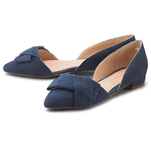 Cox Damen Trend-Ballerina Blau Rauleder 39