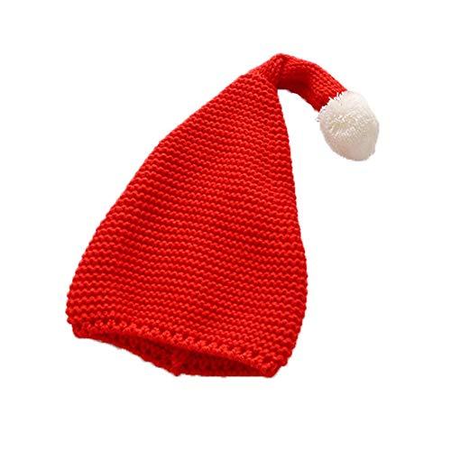 Lumanuby 1x Reine Farbe Weihnachtsmütze Gestrickt mit Weiß Ball Anhänger für Jungen und Mädchen Elastisch Polyacrylic Wollmütze für Tägliches Tragen im Herbst Winter für Kopfumfang 38-52cm (Rot)