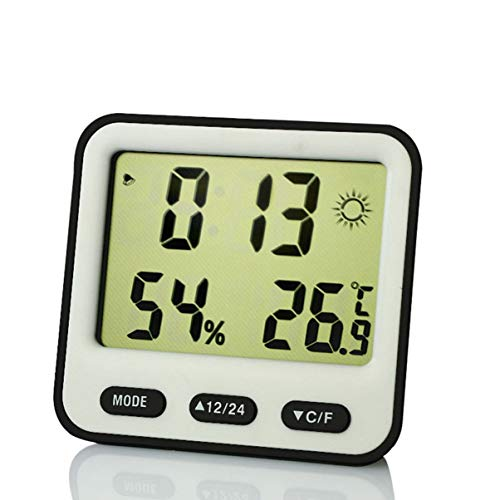 Reloj despertador electrónico digital con pantalla LED, calendario, color negro