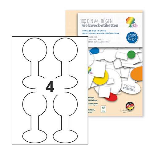400 unidades. Endisch - Etiquetas adhesivas para tapas y cristales (68 x 68 x 141 mm, 100 hojas x 4 etiquetas), color blanco