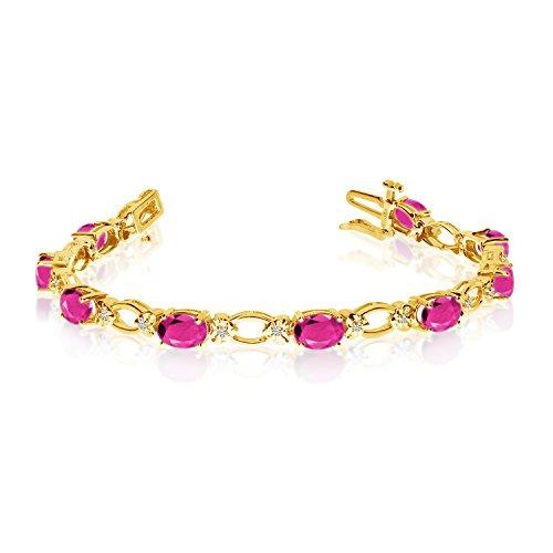 14K Amarillo Oro natural topacio y diamante tenis pulsera