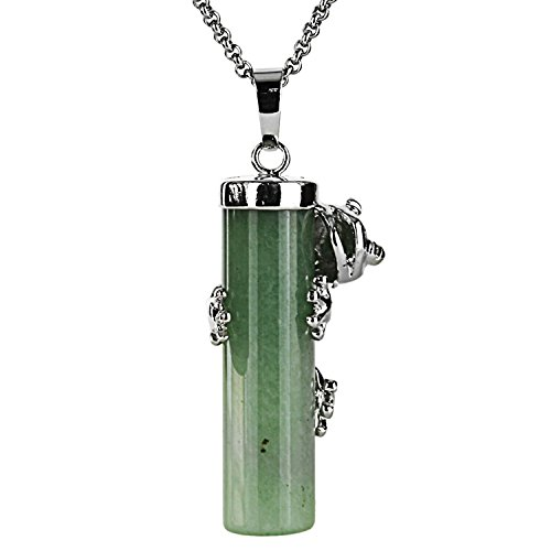 JewelrieShop Frog Cylinder Gemstone Necklace Reiki Chakra Healing Crystals Pendant for Women Men, Stainless Steel Chain 18 inchces