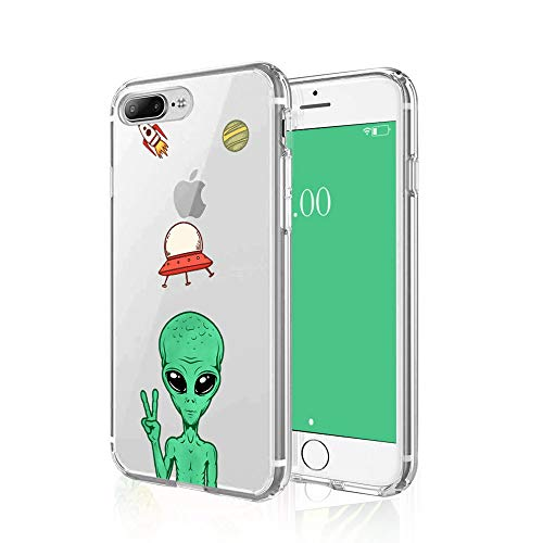 Cocomong Cool Alien Phone Case Compatible with iPhone 8 Plus Case Alien iPhone 7 Plus Case for Men Boys Designer Funny Cartoon Space UFO Alien Gifts, Clear Slim Soft Cover Protective Shockproof 5.5'