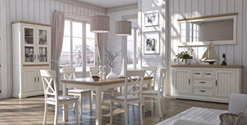 Esszimmer Komplett - Set A Solin, 10-teilig, teilmassiv, Farbe: Eiche weiß/natur