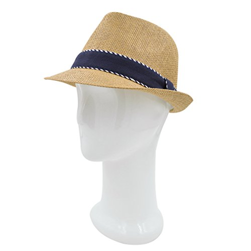 Premium Classic Fedora Straw Hat with Navy Striped Trim Band, Tan