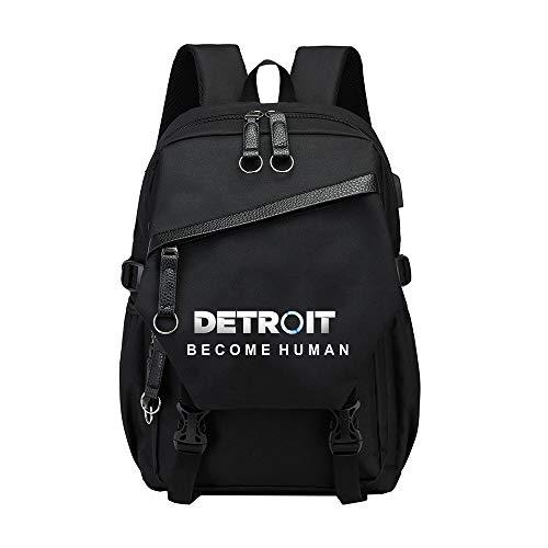 Detroit Become Human Sacs à Dos Loisir Sac à dos sauvage Voyage personnalité simple imperméable léger Sac à dos classique Casual Mode enfants Cartable Toile grande capacité Sac à dos tendance étudiant