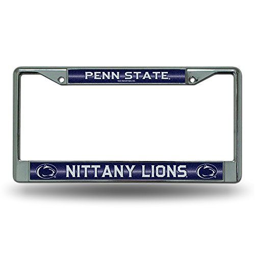 NCAA Rico Industries Bling Chrome License Plate Frame with Glitter Accent, Penn State Nittany Lions Team Color, 6 x 12.25-inches