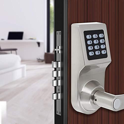 Cerradura de Puerta Electrónica Inteligente, 4 en 1 Cerradura Electrónica de Puerta con Código por Contraseña Tarjeta RF Control Remoto Llave Mecánica Entrada de Seguridad para el hogar