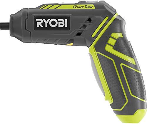 Ryobi 5133002650 Akku-Knickschrauber R4SDP-L13C, Akkuschrauber mit handlichem Knickgriff, für Schnellwechsel-Bohrfutter mit 1/4 Zoll Innensechskantaufnahme, 1,3Ah Li-Ionen Akku, 5.2 W, 4 V, Grau/Gelb
