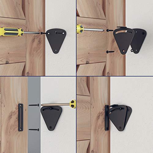 Product Image 3: SMARTSTANDARD Barn Door Large Size Latch Lock Black Privacy Latch Lock for Sliding Door Work for Pocket Doors Garage and Shed Wood Glass Gates