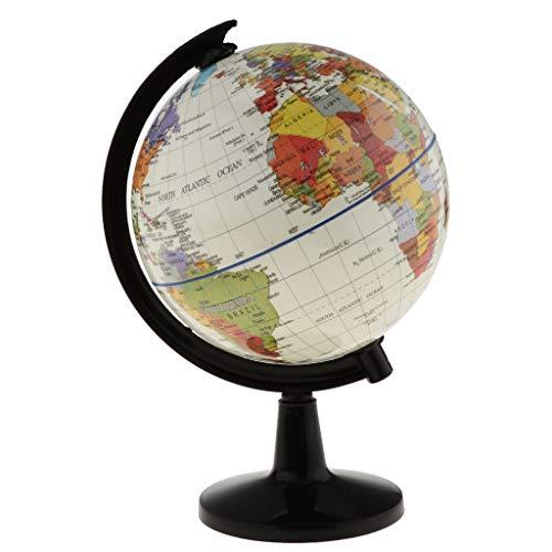 CROSYO 1 unid 16 cm Vintage Globe Gorra Mapa del Mundo Giratorio de la Tierra Atlas Geografía Estudiantes Regalos Niños Aprendizaje Educativo Globo Niños Juguete (Color : Blanco)