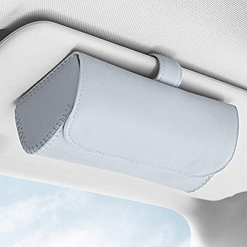 EGFheal Auto Brillenetui Hängende Sonnenblende Sonnenbrillenhalter Geldscheinaufbewahrung Autoinnenausstattung Hellgrau