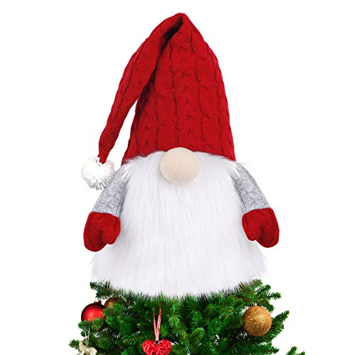 D FantiX Gnome Christmas Tree Topper, 27.5 Inch Large Swedish Tomte Gnome Christmas Ornaments Santa Gnomes Plush Scandinavian Christmas Decorations Holiday Home Décor with Red Knitted Hat