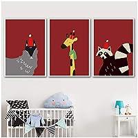 """漫画の帆布の絵、かわいい動物キツネキリンアライグマの壁のアートポスター、リビングルームの家の装飾19.6""""X 27.5""""(50x70cm)フレームなし3個"""