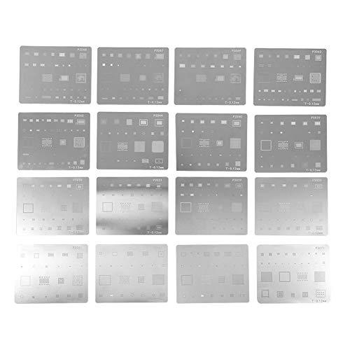 16pcs Kits de IC Chip Plantilla de Soldadura para Taller de Reparación de Teléfonos,Alta Calicidad Metal Set IC Chip BGA Reballing Stencil para Ios Phone 4/4S/5/5mini/5S/5C/6/6P/6S/6SP/7/7P/8/8P/SE/X