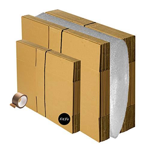 Kit de déménagement 15 cartons standard 56 x 36 x 28 cm+ 10 cartons livres 36 x 28 x 28 cm + 10 mètres de papier bulles + 1 adhésif Offert. Idéale déménagement ou expédition. De la marque FitYo