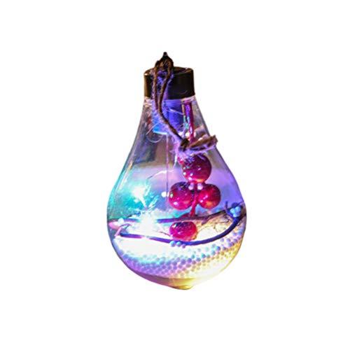 Amosfun Bolas de Navidad de plástico transparente Bolas colgantes transparentes Bola de Navidad rellenable con luz...