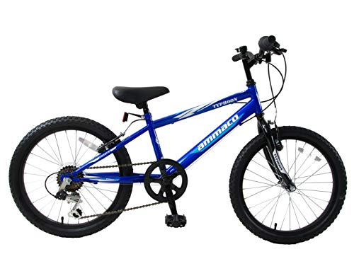 Ammaco. Typhoon 20' Wheel Boys Kids Mountain Bike 6 Speed 11' Triangular Frame Blue Age 7+