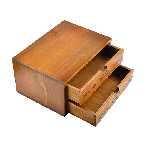 Willcome Wooden Storage Box with Drawers Portable Desktop Cabinet Organizer for Home Office Counter Craft Decor