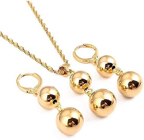 NONGYEYH co.,ltd Collar Pendientes de Perlas de Perlas de Bola de Color Dorado Collar para Mujer Conjunto de Joyas de Perlas de Moda