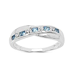 Swiss Blue Topaz & Diamond Natural Gemstones Beautiful engagement ring eternity or wedding ring Number of stones 9 Total Diamond Weight 0.02 Total Gem Weight 0.25Gr 9ct White gold with a beautiful polished finish Number of stones 9 Total Diamond Weig...
