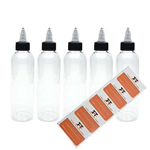 TORG TRADING 5 x 100 ml Botellas de plástico de PET con tapa de rosca - Botella vacía - botellas dosificadoras, salsas, botellas de prensado, incluye 5 etiquetas, 100 ml