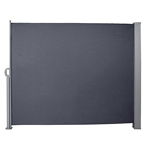 huigou HG® Seitenmarkise 160x300cm Markise seitlicher Sichtschutz Markisenstoff Polyester Terrassenwindschutz Seitenwand UV für Terrasse Vollkassette grau