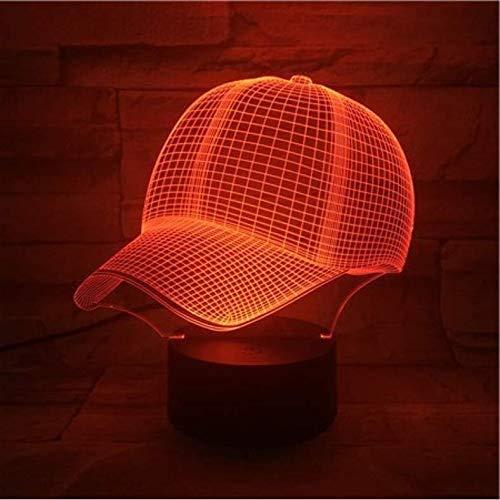 3D LED Illusionslampe Baseball Cap Lampe Nettes Geschenk für Teenager Nachtlicht Bunt mit Nachtlicht Lampe Hologramm