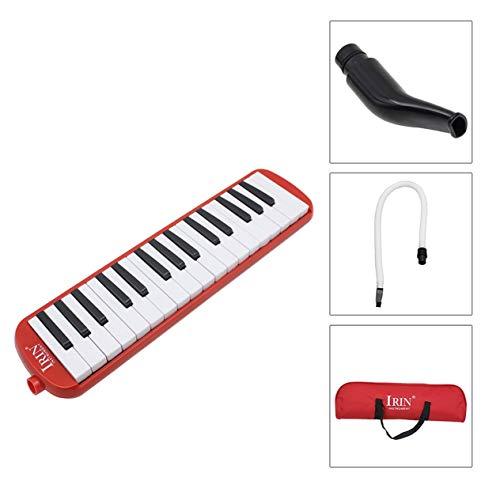 Ironheel Melodica 32 Key Piano Art bewegliche Pianica mit Kunststoff Flexible Langen Rohr Kurzen Mundstück und Tragetasche für Musikfreunde Anfänger Kinder