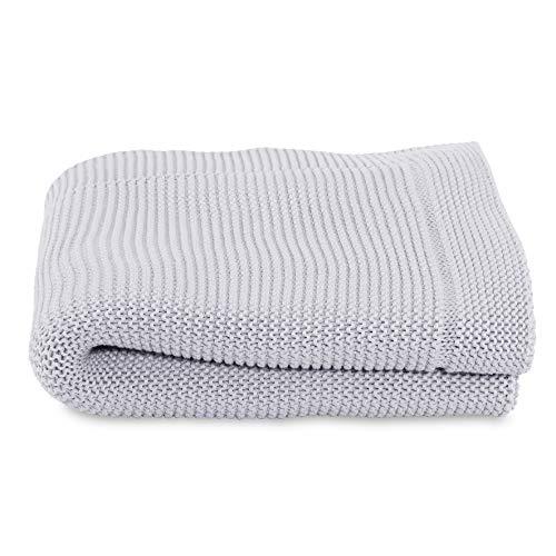 Chicco Manta tricot para cuna de bebé, color gris (Light Grey)