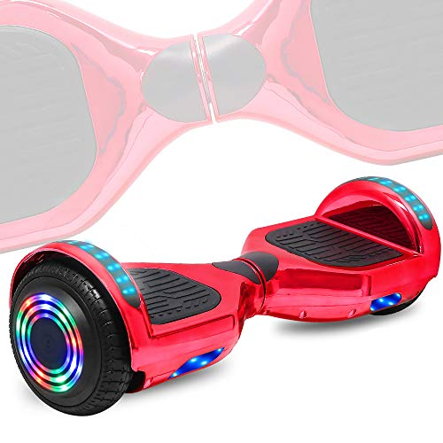 TechClic Electric Hoverboard Self-Balancing Hoover Board with Built in Speaker LED Lights Wheels UL2272 Certified (Chrome Rose Gold)