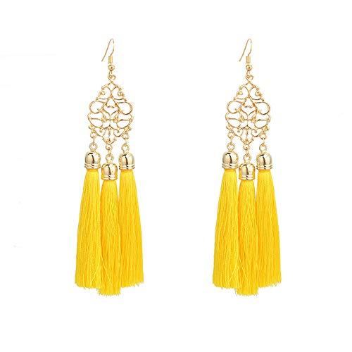 Tpocean Pendientes de borla étnica vintage bohemios creativos largos borla hueco pendientes para mujeres niñas (amarillo)