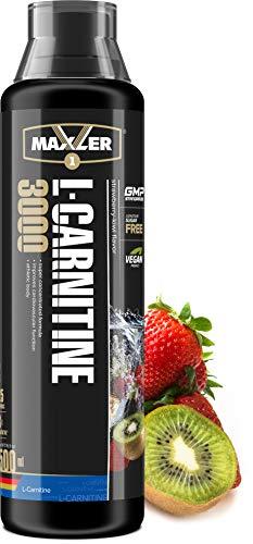 Maxler Veganes L-Carnitine 3000 Liquid - Hochdosiertes L Carnitin in flüssiger Form - reich an Geschmack - optimal dosiert - 3000mg L-Carnitin pro Portion - Erdbeere-Kiwi - 500ml