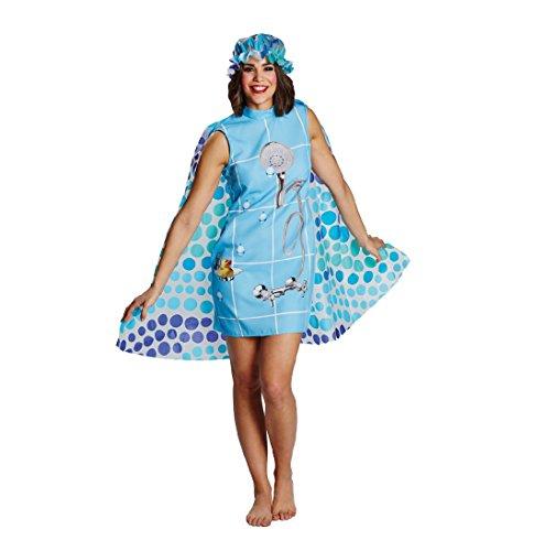 Karneval Kostüm Dusche, Kleid mit Umhang und Duschhaube (38)