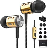 Betron AX1 Earphones with Bass Driven Sound, Noise Isolating Earbuds with Microphone, Portable in Ear Headphones, Compatible with iPhone, iPad Samsung,Huawei and Other Android Devices, Black