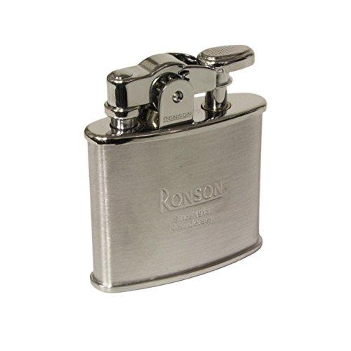 Ronson, Nostalgie-Feuerzeug mit Feuerstein, Benzinfeuerzeug aus gebürstetem Chrom