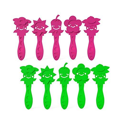 3DREAMS 10er Set Eisstiele Flowers EIS selber Machen Joghurt-Selbstmach-EIS-Stäbchen für EIS am Stiel Blumen EIS Sticks aus Bio-Kunststoff schnellster Eismaker einfachstes selbstmacheis kinderleicht